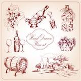 Wine decorative icons set Royalty Free Stock Image