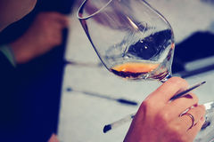 Wine degustation catering services background with glasses of wine Stock Image