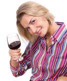 Wine degustator. Picture of a blond girl degustating red wine Royalty Free Stock Photo