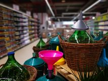 Wine Demijohns And Funnels Colorful Royalty Free Stock Photography