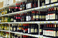 Wine department in supermarket `Auchan` Royalty Free Stock Photos