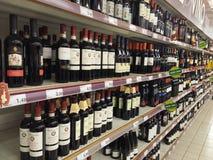 Wine department in supermarket Stock Images