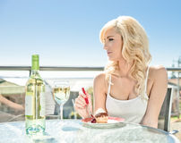 Wine and dessert in cafe Royalty Free Stock Photos