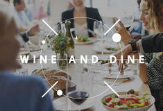 Wine Dine Drinking Food Beverage Concept Stock Photos