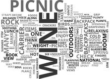 Wine And Dine With A View Enjoy The Weather With Picnics Walks And Fine Wine Word Cloud Royalty Free Stock Image