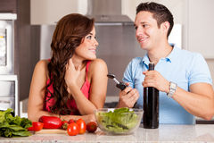 Wine and dinner with my partner Stock Photos