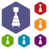 Wine distillery equipment icons set hexagon Stock Images