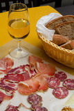 Wine a dried meats Stock Photo