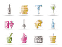 Wine and drink Icons. Vector Icon Set royalty free illustration