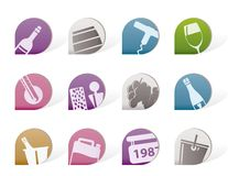 Wine and drink Icons. Vector Icon Set Stock Images