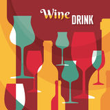 Wine Drink - Vector Background with Wine Bottles and Glasses Royalty Free Stock Image