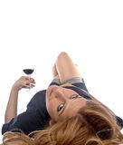Wine drinking girl Stock Image