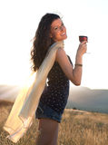 Wine drinking at golden hour Stock Images