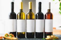 Wine drinks in bottles. Alcoholic drinks in bar. Wine drinks in bottles. Alcoholic drinks stock photography