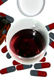 Wine with drugs dont go Royalty Free Stock Images