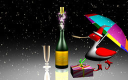 Wine, duck and Christmas gift Royalty Free Stock Photography