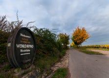 Wine educational trail. In Rhenish Pfalz stock photography