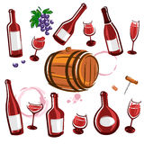Wine element collection set. Vector Stock Images