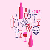 Wine elements set. Collection of vector graphics Wine threads on a pink background Royalty Free Stock Images