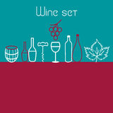 Wine elements set. Vector collection of graphic elements of the theme of wine Stock Photography