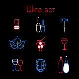 Wine elements set. Vector collection of graphic elements of the theme of wine on a black background Stock Image