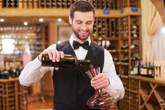 Wine expert at work. Confident young man in waistcoat and bow tie pouring red wine to decanter and smiling while standing in wine cellar Royalty Free Stock Photo