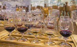 wine för bägarehandavsmakning Fotografering för Bildbyråer