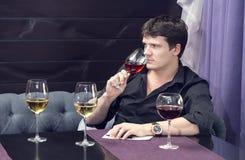 wine för bägarehandavsmakning Royaltyfri Fotografi