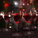 wine för exponeringsglasred två Arkivbilder