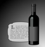 wine för flaskelitillustration Fotografering för Bildbyråer