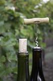 wine för flaskkorkskruvöverkant royaltyfria bilder