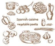 wine för röd rice för paella för apelsiner för bakgrundskokkonstfokus selektiv spansk Grönsakpaellaingredienser stock illustrationer