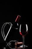 wine för stand för flaskexponeringsglas röd Royaltyfria Bilder