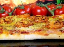 wine för tomat för kulöra trädgårds- marinadpizzaräkor rose Arkivbilder