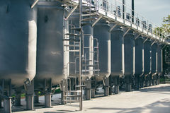 Wine factory tanks outside royalty free stock image