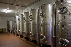 Wine fermentaion tanks Royalty Free Stock Photos