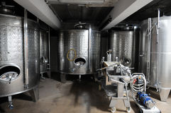 Wine fermentaion tanks. Fermentation tanks for wine production Royalty Free Stock Photos