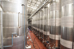 Wine fermentation tanks Stock Photo
