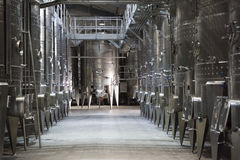 Wine fermentation tanks Stock Photos