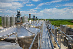 Wine fermentation tanks in winery Royalty Free Stock Images