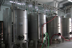Wine fermentation vats Stock Photo