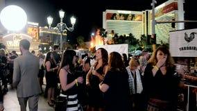 Wine festival, fire show on Las Vegas Strip, stock video