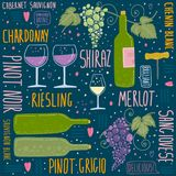 Wine festival. Set of things about wine vector illustration