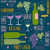 Wine festival. Set of things about wine stock illustration