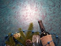 Wine and fir bunch. New year Royalty Free Stock Images