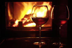 Wine and fire Stock Photography