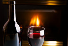 Wine and fire Stock Image