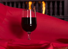Wine and fireplace Royalty Free Stock Images
