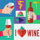 Wine in Flat Design Style Royalty Free Stock Image