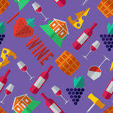 Wine in Flat Design Style pattern Royalty Free Stock Photos